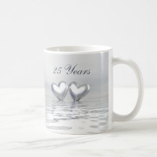 Silver Anniversary Hearts Coffee Mug