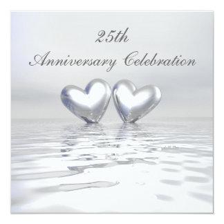 """Silver Anniversary Hearts 5.25"""" Square Invitation Card"""