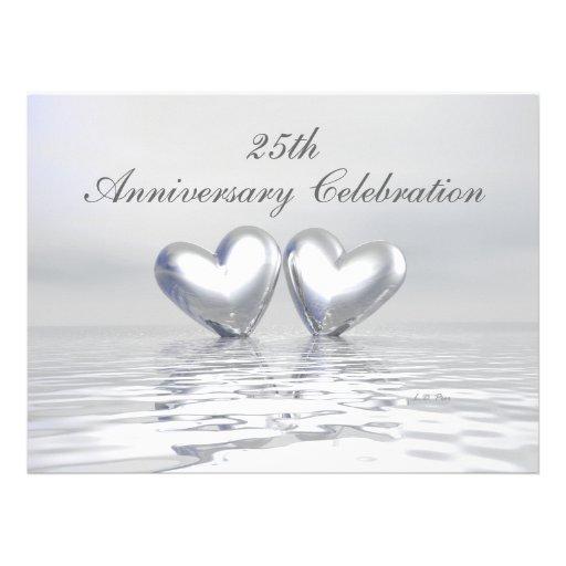 Silver Anniversary Hearts Custom Invitation