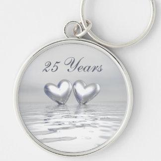 Silver Anniversary Hearts Key Ring