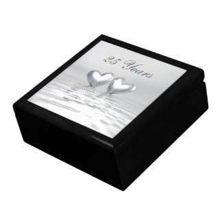Silver Anniversary Hearts Large Square Gift Box