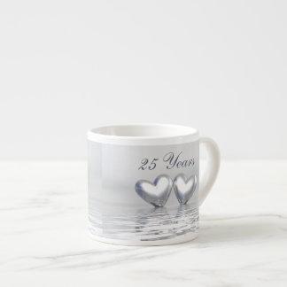 Silver Anniversary Hearts Espresso Cups