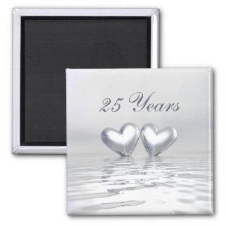 Silver Anniversary Hearts Square Magnet