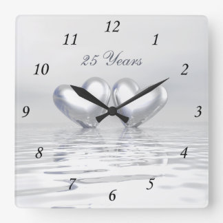 Silver Anniversary Hearts Square Wall Clock