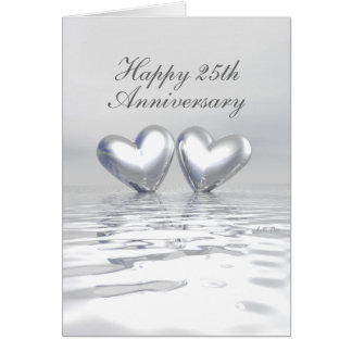 Silver Anniversary Hearts (Tall) Card
