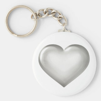 Silver Anniversary - Silver Glass Heart Key Ring