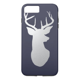 Silver Antler Modern Silhouette Navy Blue iPhone 7 Plus Case