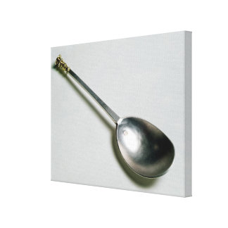 Silver apostle spoon with gold seal top, 1668 canvas print