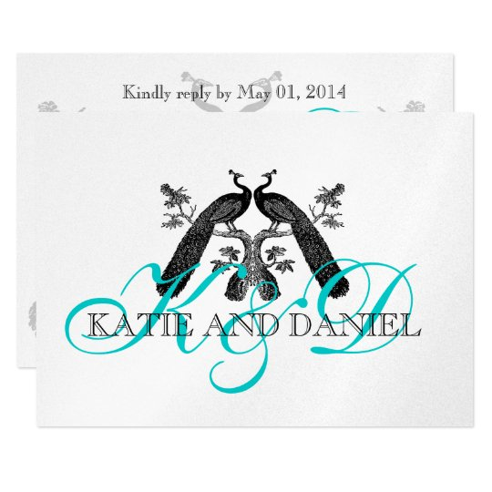 Silver Aqua Peacock Wedding RSVP Card