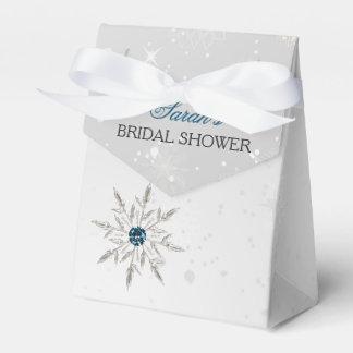 silver aqua snowflakes bridal shower favor box party favour boxes