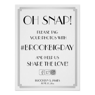 Silver Art Deco Gatsby Hashtag Sign 18x24 Poster