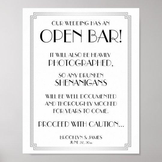 Silver Art Deco Gatsby Open Bar Sign 8x10