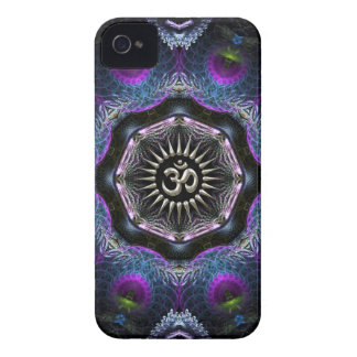 Silver Aum Hexagon Fantasy Fractals New-Age iPhone 4 Cover