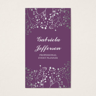 Silver Baby's Breath Amethyst Vintage Elegant Business Card
