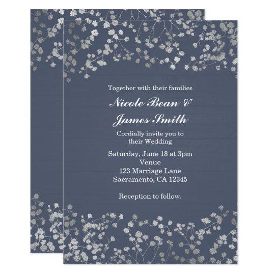 Baby Blue Wedding Invitations: Blue, Silver Floral Butterflies Wedding Invitation
