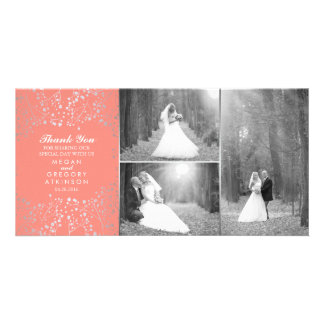 Silver Baby's Breath Coral Wedding Photo Thank You Card