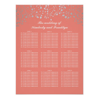 Silver Baby's Breath Coral Wedding Seating Chart Poster