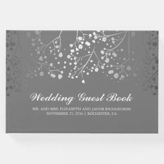 Silver Baby's Breath Floral Elegant Grey Wedding Guest Book