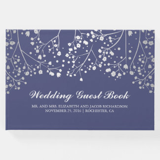 Silver Baby's Breath Floral Elegant Navy Wedding Guest Book