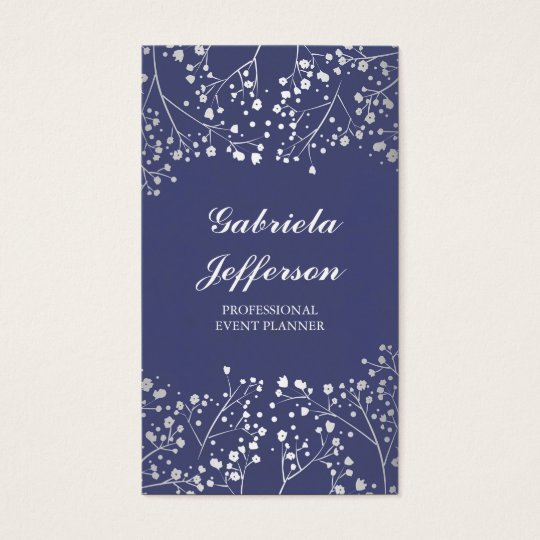 Silver Baby's Breath Navy Vintage Elegant Business Card