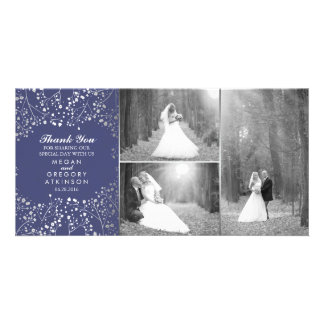 Silver Baby's Breath Navy Wedding Photo Thank You Photo Greeting Card