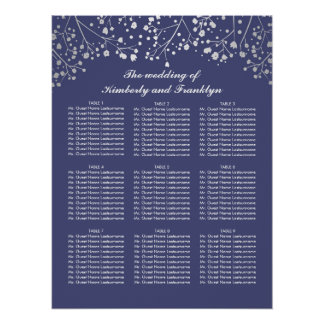 Silver Baby's Breath Navy Wedding Seating Chart