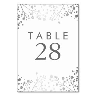 Silver Baby's Breath Wedding Table Number Table Card