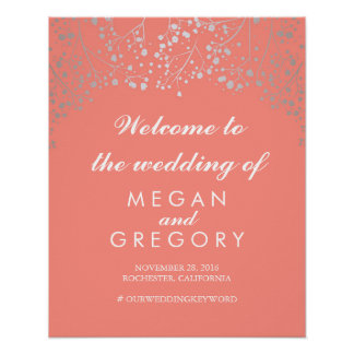 Silver Baby's Breath Wedding Welcome Sign Coral