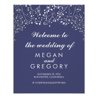 Silver Baby's Breath Wedding Welcome Sign Navy Poster