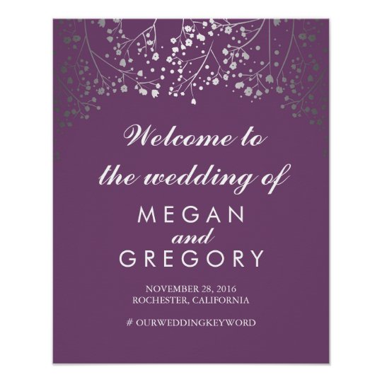 Silver Baby's Breath Wedding Welcome Sign Plum Poster