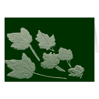 Silver Bas Relief Maple Leaves On Green Greeting Card