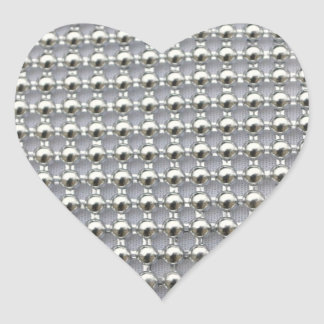 Silver Beads Pattern Heart Sticker