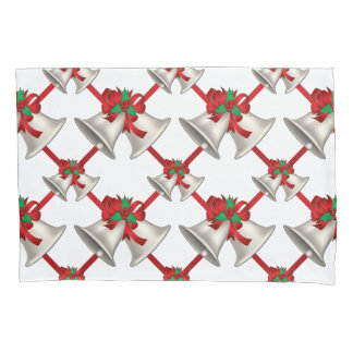 Silver Bells Christmas Bows Pillowcase