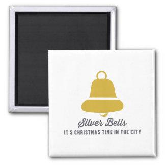 Silver Bells   Gold Square Magnet