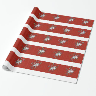 Silver Bells with Vines on Red Glitter Gift Wrap
