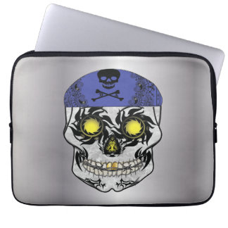 Silver Biker Candy Skull Laptop Sleeve