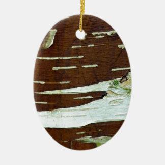Silver Birch Natural Tree Bark Ceramic Oval Decoration
