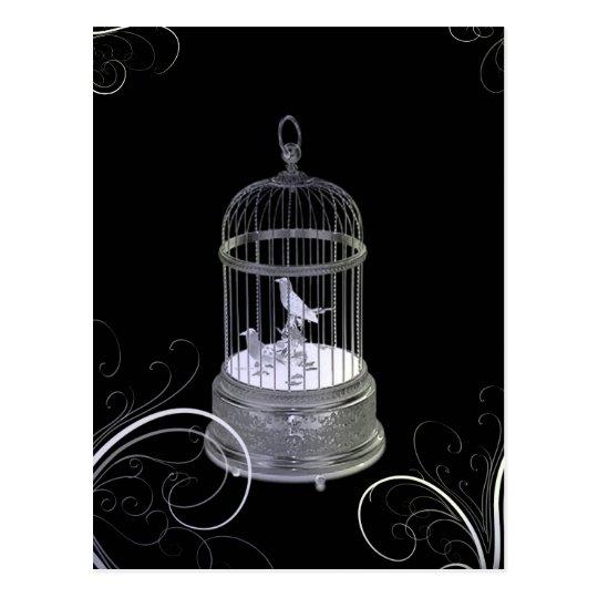 Silver Birds Art Deco Wedding Announcement Postcard