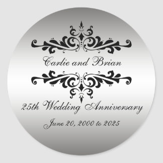 Silver Black 25th Wedding Anniversary Stickers