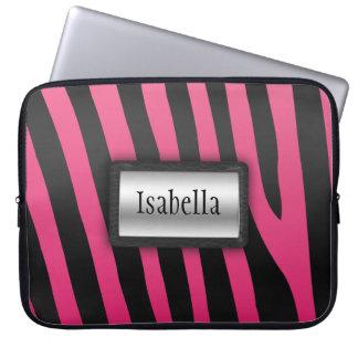 Silver, Black and Pink Zebra Stripes Laptop Sleeve