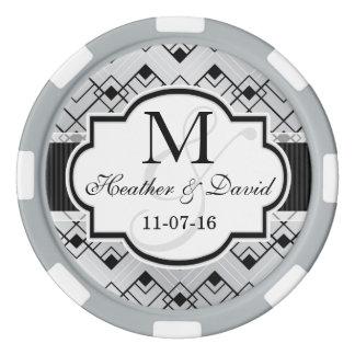 Silver & Black Art Deco Wedding Poker Chips