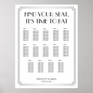 Silver Black Art Deco Wedding Seating Chart Poster