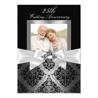 Silver Black Bow & Damask 25th Wedding Anniversary 13 Cm X 18 Cm Invitation Card