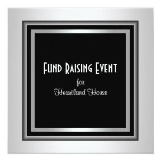 Silver Black Corporate Black Tie Fundraising 13 Cm X 13 Cm Square Invitation Card