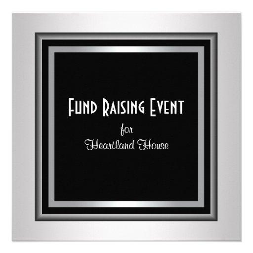 Silver Black Corporate Black Tie Fundraising Personalized Invitations