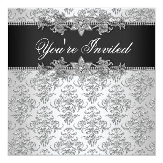 Silver Black Damask Black Damask Party 13 Cm X 13 Cm Square Invitation Card
