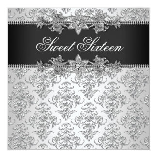 Silver Black Damask Black White Sweet 16 Birthday 13 Cm X 13 Cm Square Invitation Card