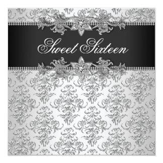 Silver Black Damask Black White Sweet 16 Birthday Card
