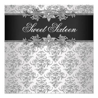 Silver Black Damask Black White Sweet 16 Birthday Invitations