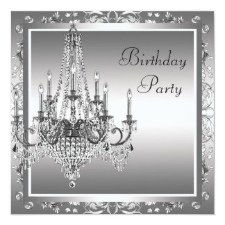 Silver Black Damask Chandelier Birthday Party Card